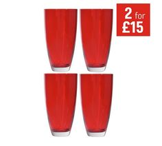 Buy HOME Everyday Set of 4 Hi Ball Glasses - Red at Argos.co.uk - Your Online Shop for Glasses, Tableware, Cooking, dining and kitchen equipment, Home and garden.