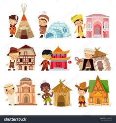 Find People Various Nationalities Their Traditional Houses stock images in HD and millions of other royalty-free stock photos, illustrations and vectors in the Shutterstock collection. Thousands of new, high-quality pictures added every day. Around The World Theme, Kids Around The World, People Of The World, Around The Worlds, Preschool Activity Books, Activities For Kids, Iconic Characters, Cartoon Characters, Funny Baby Memes