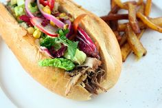 Pulled Pork Sandwich & Sweet Potato Fries by peaflockster, via Flickr