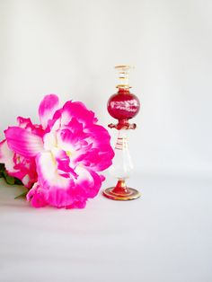 Hand Blown Glass Perfume Bottle Delicate and Dainty by oldandnew8, $10.00