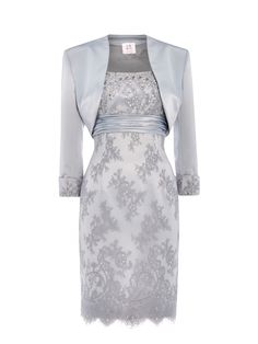 ANOUSHKA G Elizabeth lace dress with satin bolero, Grey Mother of the Bride Outfit