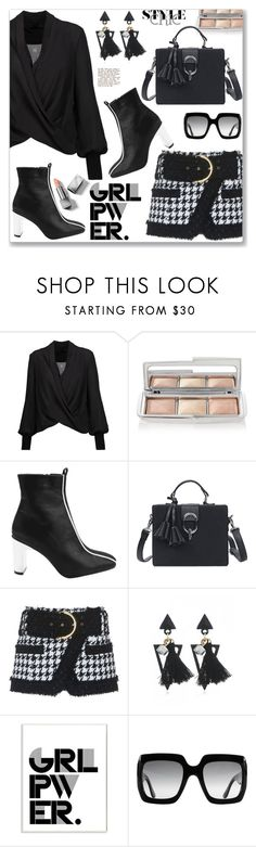 """Street Style Black and White"" by jecakns ❤ liked on Polyvore featuring Alice + Olivia, Hourglass Cosmetics, Balmain, Stupell, Gucci and Burberry"