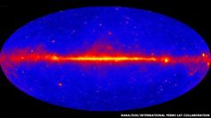 The full sky is seen in the Fermi telescope map; gamma-ray sources abound along the central, galactic plane