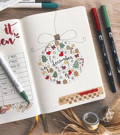 """I'm working on my December bullet journal set up right now. Here are some Christmas themed bullet journal ideas I found for inspiration! Will be posting my own December bujo setup soon! Love this adorable December weekly by Kate Hadfield. This December cover page will remind you of """"lette... #journaling #bulletjournal #planners"""