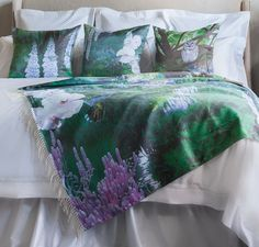 Our Wisdom and Purity collection silk/cashmere throw with our silk pillows! This took almost a year to create from the beginning of the idea to commissioning an oil painting and then fabrication. A true labor of love!
