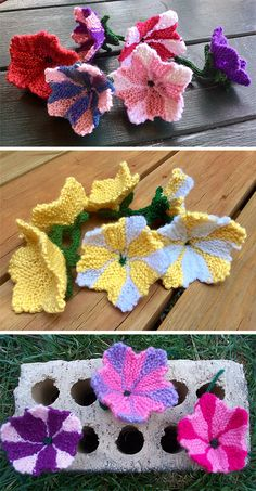 Crochet Flowers Patterns Free Knitting Pattern for Petunia - Lesley Stanfield created this beautiful petunia blossom knit flat with i-cord stem. Excerpted from her book 100 Flowers to Knit and Crochet. Pictured projects by Femminista and Blades - Baby Hats Knitting, Loom Knitting, Knitting Stitches, Knitting Patterns Free, Free Knitting, Knitted Flowers Free, Knitted Flower Pattern, Crochet Flowers, Easy Crochet Projects
