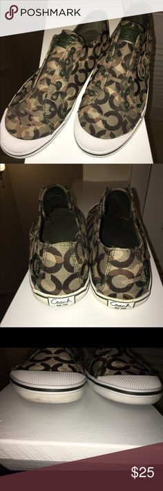 AUTHENTIC Coach shoes Camouflage colors, laceless (they were purchased this way from the Coach store), used with some signs of wear (please see last two picks) but still have some life in them! Size 9 1/2  true to fit Coach Shoes Sneakers