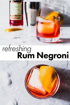 A refreshing riff on the Negroni cocktail that brings a little bit of the Caribbean flare to the classic. We're subbing in dark rum for the gin, which makes it even more delicious. You be the judge and try it for yourself. Dark Rum Cocktails, Rum Cocktail Recipes, Rum Recipes, Sparkling Drinks, Classic Cocktails, Negroni Cocktail, Cocktail Drinks, Liquor Drinks, Cocktail Ideas