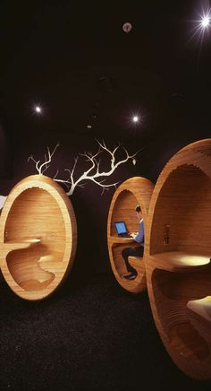 PLYWOOD EGG CHAIRS Working with Plus Architecture, designer Emma Selzer has created plywood 'Egg Chairs' that will be incorporated into a new apartment complex in Melbourne Australia. These pods will be placed in a public lounge as one of the many community spaces planned for the development known as 'Society.'