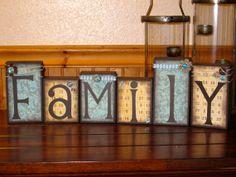 wooden block signs | ... Blocks, Family Blocks, Home Decor, Wooden Blocks, Family Sign, Gifts