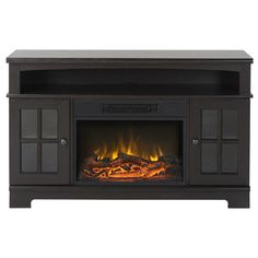 """Loon Peak Anken 58"""" TV Stand with Optional Fireplace & Reviews"""