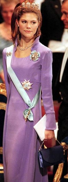 Crown Princess Victoria wore the 4-Button Tiara for the 1997 Nobel Prize Ceremony and Dinner.
