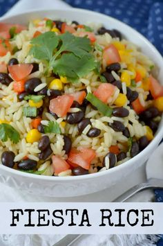 This Fiesta Rice recipe is a Mexican rice side dish with jasmine, tomatoes, corn, cilantro, lime and black beans. Full of flavour and so easy to make! Taco Side Dishes, Mexican Side Dishes, Mexican Dinner Recipes, Side Dishes Easy, Food Dishes, Mexican Desserts, Main Dishes, Corn Recipes, Side Dish Recipes