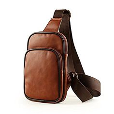XW COSTUME PU Leather Men's Small Shoulder Sling Backpack Cross Body Bag Small Sling Chest Bag Purse-BROWN