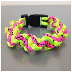 A personal favourite from my Etsy shop https://www.etsy.com/uk/listing/239550270/neon-pink-and-green-paracord-bracelet