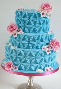 Cake Decorating Tutorials -triangle step by step.  cut circles of fondant and just lightly press triangle in it and fold up edges.  awesome!