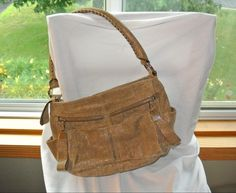 B. Makowsky Metallic Weave Leather Zip Top Shoulder Bag w/ Front Pockets NICE #BMakowsky #ShoulderBag
