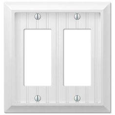 Amerelle 279RRW Cottage Wood White Double Decor Rocker GFCI Wall Switch Plate Cover - GreyDock.com