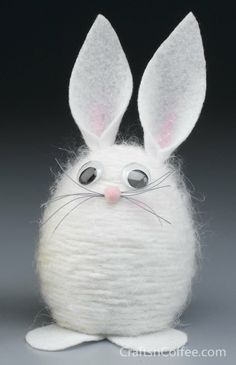 "Yarn Bunny  To make the Yarn Bunny, you will need:  STYROFOAM Brand Foam: 4"" egg White yarn (fuzzy yarn works well) Scrap of white felt 10mm..."