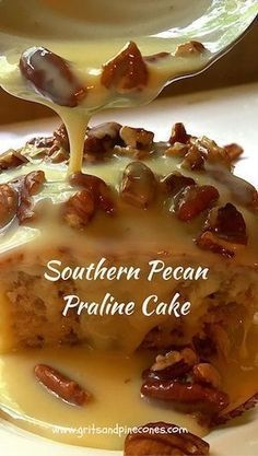 Southern Pecan Praline Cake is about as southern as you can get. Southern Pecan Praline Cake is about as southern as you can get. If you like pecans and pralines you will love this easy to make decadent and delicious cake. via Grits and Pinecones Köstliche Desserts, Desserts Nutella, Delicious Desserts, Dessert Recipes, Yummy Food, Dessert Food, Easter Recipes, Recipes Dinner, Fast And Easy Desserts