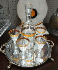 Vintage Mid Century Bar Set Decanter and Five Glasses Gold Rimmed by Jay Made in Italy