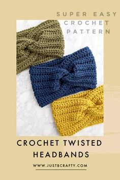 Free crochet pattern and video tutorial! Learn to crochet the twisted headband! Crochet Gratis, Free Crochet, Crochet Baby, Knit Crochet, Crochet Humor, Crochet Mandala, Crochet Afghans, Crochet Blankets, Beginner Crochet Projects