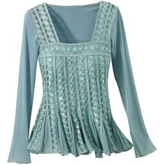 Aqua Renaissance Sequined Top - New Age & Spiritual Gifts at Pyramid Collection, found on polyvore.com