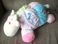 "Aurora Baby 14"" Pastel Squeaking Rattle COW Velour Soft Plush Numbers Lovey Clea"