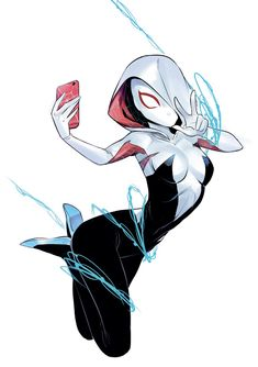"""""""I just found out this Spider-Gwen pinup I did some time ago… I can't wait to see Spider-Man: Into the Spider-Verse (hope to do in a couple of days! Spider Girl, Marvel Spider Gwen, Spider Gwen Cosplay, Marvel Art, Lego Marvel, Spiderman Kunst, Character Art, Character Design, Arte Nerd"""