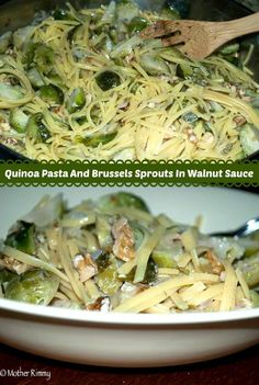 This meat-free meal uses quinoa pasta to give it a protein boost. Brussels sprouts and walnuts in a light walnut sauce add wonderful flavor.