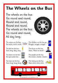 The Wheels on the Bus Song Sheet Rhyming Preschool, Nursery Rhymes Preschool, Preschool Boards, Free Preschool, Preschool Classroom, Rhymes Songs, Songs For Toddlers, Rhymes For Kids, Teaching