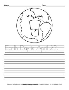 FREE Earth Day Worksheets: Earth Day Handwriting Practice - Free printable Earth Day and Ecology activity pages and worksheets for kids from PrimaryGames. www.primarygames.com