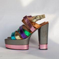 "70s Women's Platform Shoes RAINBOW METALLIC 5.5"" Heels size 6.5-7. $340.00, via Etsy."