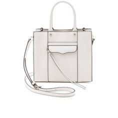 Rebecca Minkoff Mini MAB Tote ($140) ❤ liked on Polyvore featuring bags, handbags, tote bags, accessories, seashell, white tote bag, leather handbag tote, leather purse, leather tote bags and white leather handbags