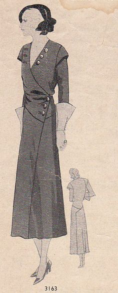 """Style 3163  Bust 36""""  A pattern from the """"Style Pattern Service"""" American's Most Exclusive Patterns for the Fashionable Woman. A division of the American Fashion Company Publishers. 15 West 37th St. New York.   The lines of this frock are plain with a diagonal seam echoing the surplice detail of the bodice and the  asymmetric seaming over the hips. Jacket like detail proclaims its newness along with the button trimming. Note the epaulets that produce that broad shoulder look.   c. 1930's"""