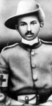 Gandhi - in South Africa during the Boer War - He worked as a medic.