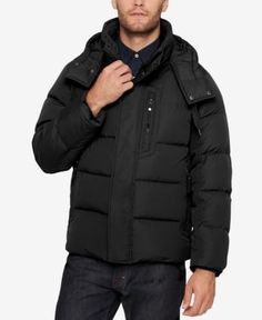 Marc New York Men's Quilted Jacket with Removable Hood and Collar - Black XXL