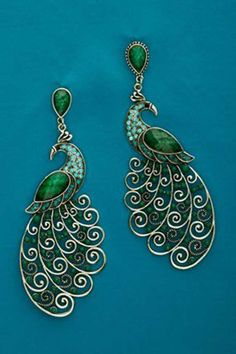 "How to Wear It: ""Peacock-colored jewelry works with any complexion. Wear drop earrings or a collar-grazing necklace to bring warmth to the face and make your eyes pop. Peacock Jewelry, Peacock Earrings, Emerald Earrings, Drop Earrings, Jewelry Accessories, Fashion Accessories, Jewelry Design, Fashion Jewelry, Designer Jewellery"