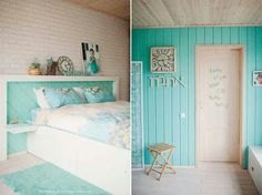 Mint green details Mint Green, Diy And Crafts, Sweet Home, Bedroom, Beach Houses, Inspiration, Furniture, Interiors, Home Decor