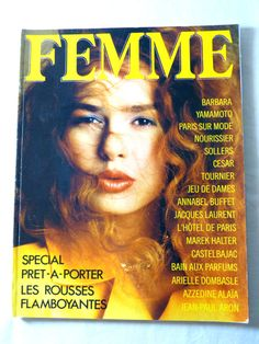 FEMME womens fashion magazine - February 1986 ready-to-wear & redhead special - French 80s vintage French high fashion magazine including editorials & ads, this is a special ready-to-wear issue published in February 1986 by Filipacchi / COGEDIPRESSE editions, written in French the second picture is of the back page, circa 154 pages, the magazine is complete some traces of use on the covers good condition  length circa 30 cm (= 11.8 inches) width circa 23 cm (= 9.1 inch...