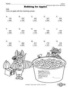 Bobbing for Apples, Lesson Plans - The Mailbox 2nd Grade Math Worksheets, 4th Grade Math, Teaching Geography, Teaching Math, Math Helper, Colegio Ideas, Math Sheets, Primary Maths, Math Addition