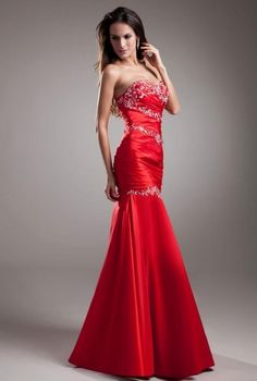 Women's #Fashion Clothing: Formal Dresses and #Gowns:  Merry Bridal #Red Strapless Embroidery Satin Bridesmaid #Dress: Clothes