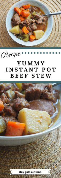 This delicious instant pot beef stew recipe is fast, delicious, and takes under 45 minutes from start to finish! | via Stay gold Autumn