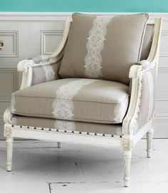 i'll take two please (Ethan Allen chair). Wonder if you could use lace to paint the pattern on the upholstery? Upholstered Furniture, Shabby Chic Furniture, Painted Furniture, Home Furniture, Plywood Furniture, Furniture Design, Home Interior, Interior Design, Take A Seat