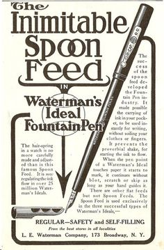 1912 Waterman Spoon Feed Fountain Pen Ad Ink Self Filling Pen | eBay