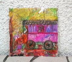 Roulotte bohème gitane en peinture aquarelle sur papier unique : Cartes par coralie-bellal