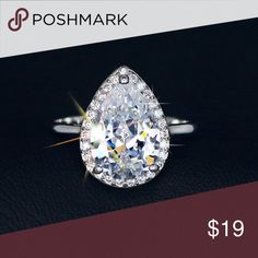 Ms Pear Pleaser Micro Pave Rhodium Plated Swiss Pear CZ in. Stunning Ring, loving this pretty beauty.   Details-> One Available in each size, 6, 7, 8, 9.  .Ask About Custom Bundles.  .Poshmark Rules Only. No Trades. .Does Not Model. .Additional Pics Available as Time Allows. GoodChic Jewelry Rings