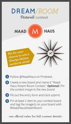Pin for your chance to win in the Maad Haus Dream Room Contest! #MaadHausDreamRoom