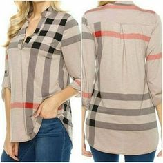 Gift for Her, Fall Outfit, Fall Womens Outfits, Cute Fall Outfits for Women, Cute Fall Outfits, Gift Ideas, Gift for Mom, Christmas Gifts, Loose Fit Plaid Print 3/4 Sleeve Top