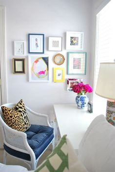 Desk & vanity area in bedroom // Home of and Design by Christina Han Johnston // Arianna Belle leopard pillow